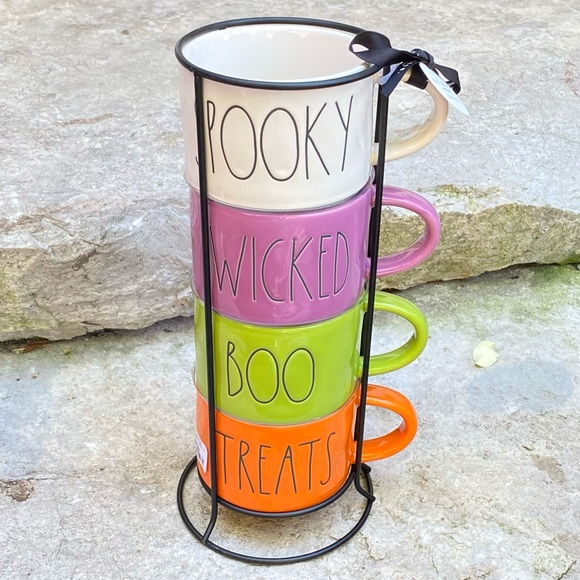 Rae Dunn SPOOKY, WICKED, BOO, TREATS Stacker Mugs